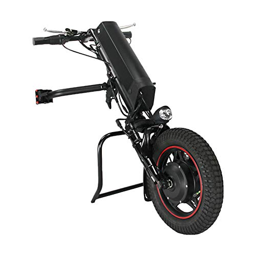 GMtes 350W Wheelchair Electric Handcycle Wheelchair Attachment, Rehabilitation Therapy Electric Wheelchair Conversion Kit with Front Light,11.6Ah Battery