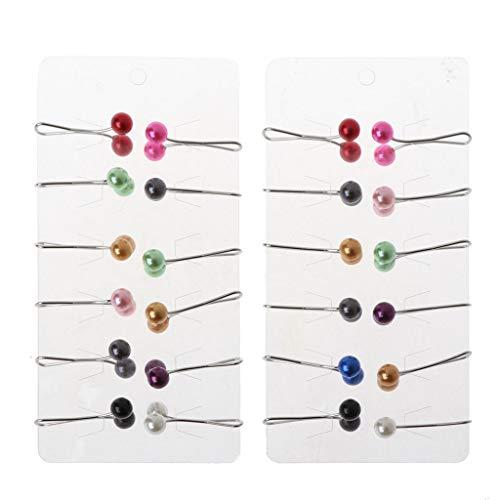SOFEA Clip Pin, 24pcs musulmán Hijab bufanda Pin perla clip pañuelo bufanda clip accesorios