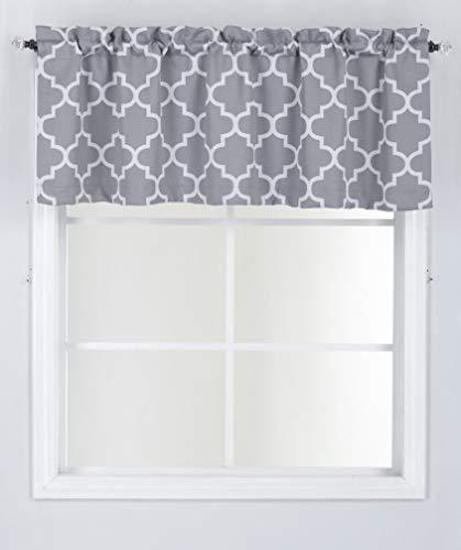 "LinenTopia 1pc Valance Curtain 52"" Wx18 L, Decorative Window Valance, Grey Moroccan Lattice Room Darkening Soft, Window Valance Decoraton, (Haily, 18, Silver|Gray)"