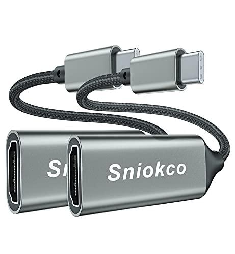 2 Pack Adaptador USB C a HDMI, Sniokco Adaptador Type-C a HDMI (Thunderbolt 3) para Oficina En casa, Compatible con MacBook Pro, MacBook Air, Pixelbook,Surface Pro, Pad Pro, XPS, G,alaxy S10 S9+ y Más