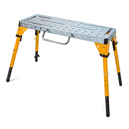 Product Image of the Dewalt Adjustable Height Portable Steel Welding Table and Work Bench, 18 x 46-inch Tabletop, Folding Legs, Carrying Handle, and Cord Minder