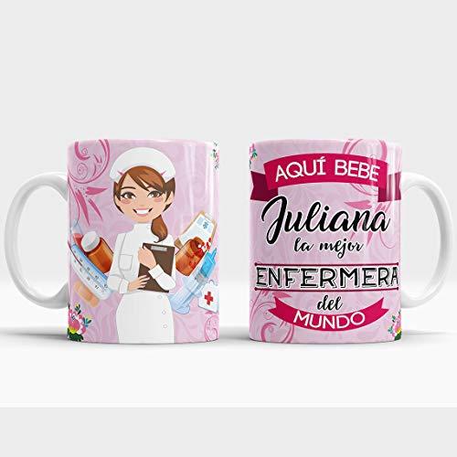 Taza Aquí Bebe la Mejor Enfermera del Mundo/Taza aqui Bebe una Super Enfermera/Taza Personalizada con Nombre/Taza Regalo Original para Enfermera (Enfermera Rosa)