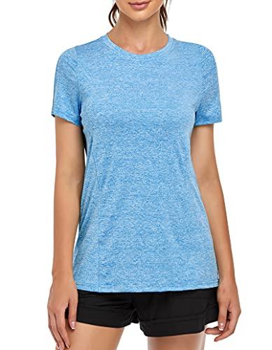 MOLERANI, Camisetas de Yoga para Mujer, Gimnasio Informal para Correr, Entrenamiento Relajado, Camiseta de Manga Corta, Ropa Deportiva, Camisetas Deportivas para Gimnasio(L,Cielo Azul