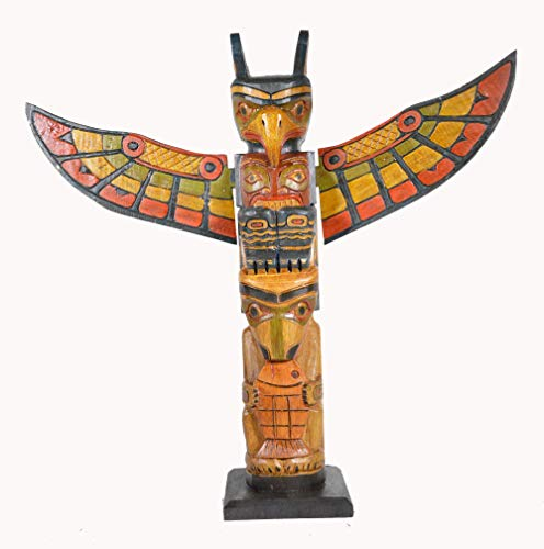 20 Inch Tall Northwest Coast Style with Fish Wooden Totem Pole