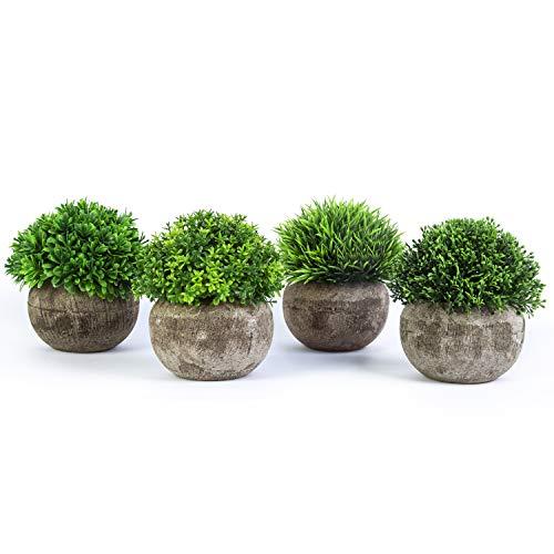 YHmall 4 Stück Künstliche Pflanzen kleine dekorative Faux Plastik Kunstpflanze, ideal für Haus Balkon Büro Deko MEHRWEG