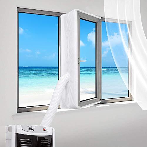 400CM Joint de Fenetre Climatisation, Tissus Calfeutrage Climatisation Mobile pour Fenêtres, Joint de Fenetre Climatisation, Accessoire Climatiseur Mobile pour Climatiseur Mobiles, White