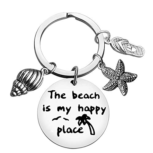 Beach Lover Gift Keychain Beach Jewelry The Beach is My Happy Place Keyring Stainless Steel Key Chain Birthday Christmas Graduation Gift for Women Girl Teens Beach Lover