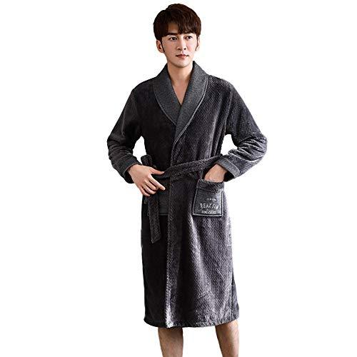 YUANYI Bata De Baño Súper Suave para Hombre Bata De Baño para Hombre - Ofrece Una Gran Combinación Entre Calidad Y Comodidad - Gran Regalo,XXL-Grey