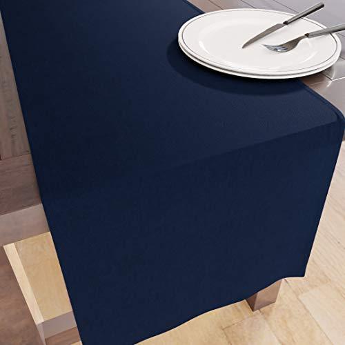 Encasa Homes Table Runner per 6 Seater Pranzo - Blu Marino - Grande 40 x 150 cm, 100% Cotone Tinto in Tinta Unita Tinta Unita Panno Decorativo per Festa, Ristorante - Lavabile in Lavatrice