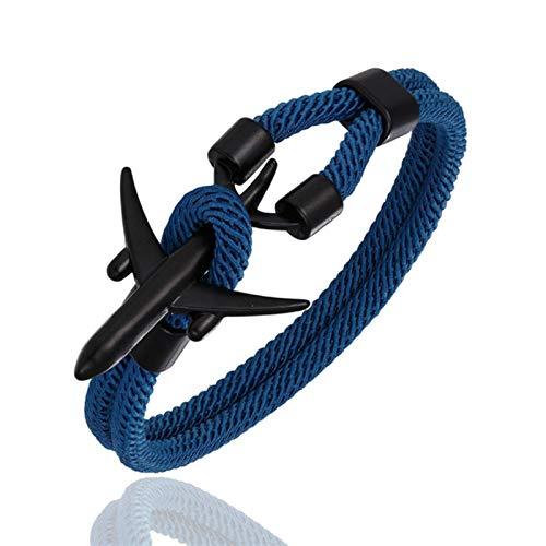 mengnuo Aeropuerto Moda Hombres Mujeres Aeroplano Ancla Pulseras Charm Rope Chain Jewelry