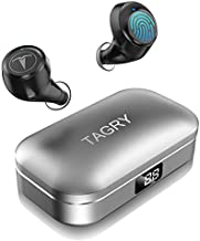 Bluetooth Headphones,TAGRY 5.0 True Wireless Earbuds Deep Bass HiFi Stereo Sound 30H Playtime Bluetooth Earphones in Ear Binaural Call Headset with Charging Case and Built in Mic(Light Black)