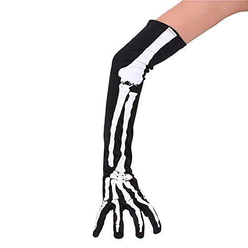 EROSPA® Extra Lange Skelett-Handschuhe Halloween Ellenbogen Knochen Skeleton