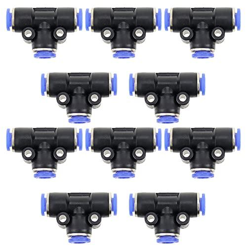 LbsAMP M8 Empuje en el conector de aire neumático cruzado de 3 vías de conexiones rápidas Tubo - 10PCS