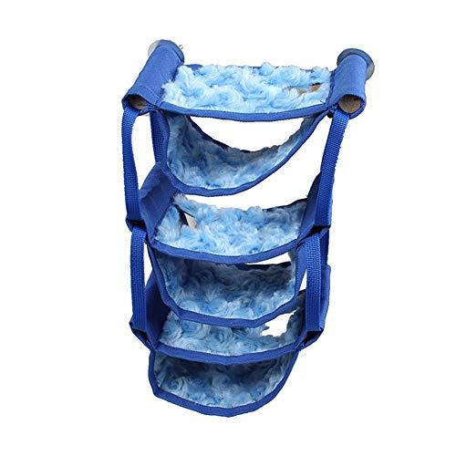 Hamaca para mascotas pequeña, de varias capas, hamaca de reposo para hámster chinchilla, hamaca para colgar en jaula de ratas, juguetes colgantes, enmarcado de madera (azul)