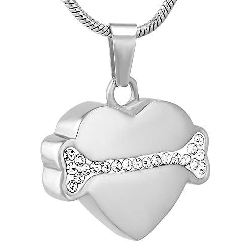 OPPJB Collar De Urna para Cenizascollar Colgante De Cenizas En Forma De Corazón De Diamantes De Imitación De Hueso De Perro De Acero Inoxidable