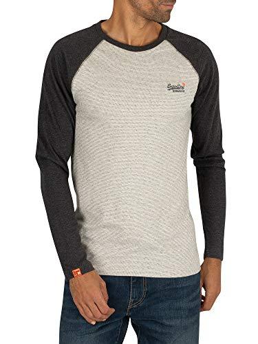 Superdry Orange Label Texture Baseball Ls Top Long Sleeve T-Shirt Large Steel Oatmeal Marl Texture