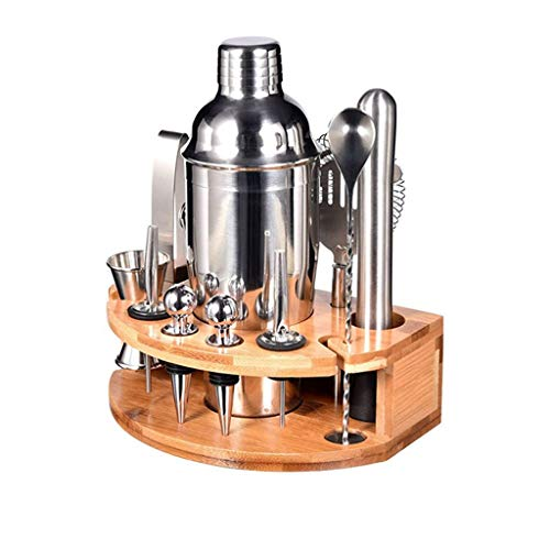 NXYJD Kit de barman de 25 onzas con elegante soporte de bambú, juego de coctelera de 12 piezas, juego de herramientas profesionales de acero inoxidable
