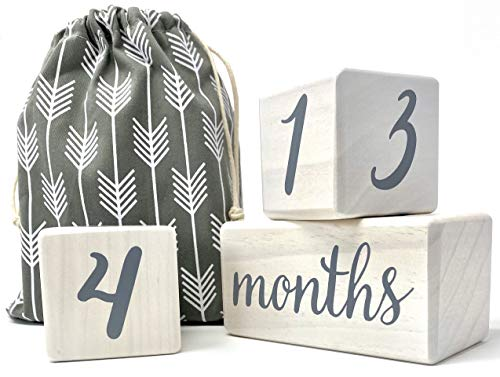 Pondering Pine Baby Milestone Blocks - Natural White Stain Pine Wood with Weeks Months Years Grade - Milestones Age Block Set with Bag, Newborn Weekly Monthly First Year Picture Props, Earth Friendly