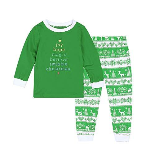 MEIHAOWEI New Famille Matching Kids Pyjamas Sets Vêtements de Famille de Noël Vêtements Maman et Moi Look de Famille Kid-Green 90