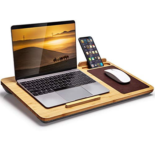 Lap Desk - Bamboo Laptop Lap Desk with with Vent Holes, Built in Mouse Pad & Device Ledge, Pen & Phone Holder - Fits up to 17 Inch Laptops and Most Tablets