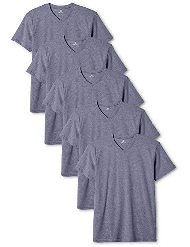 Lower East Herren T-Shirt mit V-Ausschnitt, 5er Pack, Blau (Rauchblau Melange), Large