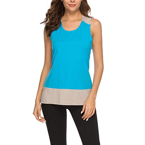 Cheap Cewtolkar Women's Casual Blouse Solid Sleeveless O-Neck Camisole Pullover Patchwork Tank Tops ...