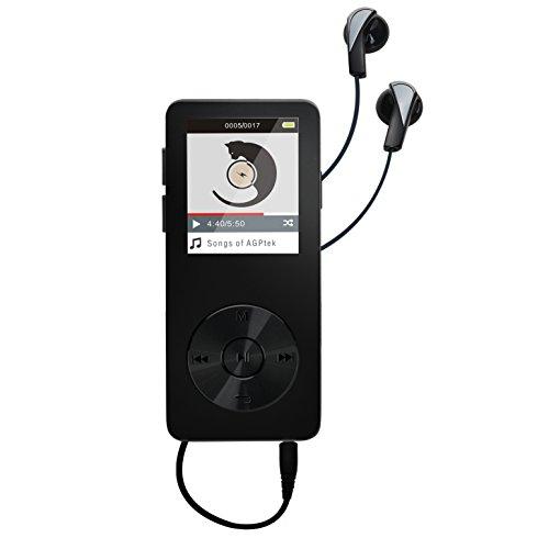 AGPTEK 16Go M28  Refusez Le Faux!    Lecteur MP3 Métal, Ecran Couleurs de 1.8'', (slot carte mémoire de 32Go), Noir