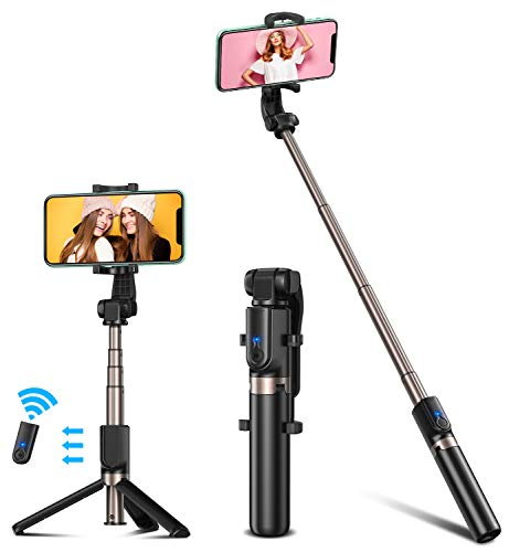 Bovon Palo Selfie, Tripode Movil Extensible Selfie Stick Bluetooth con Control Remote Recargable, Tripode para Movil para iPhone SE/11 Pro MAX/11/XS MAX/XR, Galaxy S20/S10e/S9 Plus, Huawei, etc