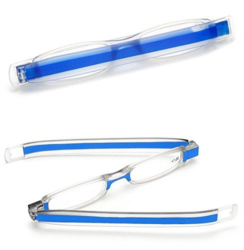 VEVESMUNDO Lesebrille Herren Damen Faltbar Klappbar Mini Portable 360°Rotierende Stiftart Lesebrillen Vollrandbrille Lesehilfe 1.0 1.5 2.0 2.5 3.0 3.5 4.0 (Blau, 2.5)