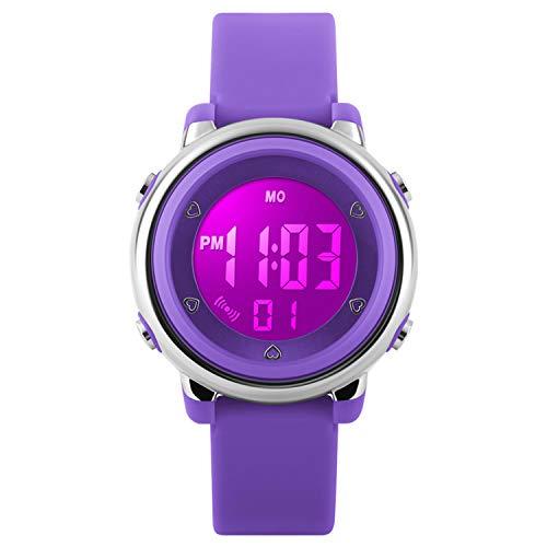 RSVOM Kinder und Jugendliche Digital Quarz Sport Uhren mit Resin Armband 5 Bar Wasserdicht Mädchen Uhren Sportuhr mit Wecker, Stoppuhr Armbanduhr mit 7 LED Hintergrundbeleuchtung