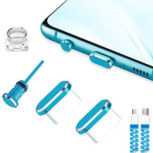 VIWIEU USB C キャップ 携帯 タイプc カバー コネクタ防塵保護 防砂 防水 ジャック 充電穴端子保護プラグ、アルミニウムとシリコン製 3.5mmイヤホンジャッククピンと2個のケーブルプロテクター付き スマホ/タブレット対応 (2個 青) ワイヤレス充電に対応 SAMSUNG S20 Note 20, Xperia XZ, AQUOS S2 対応