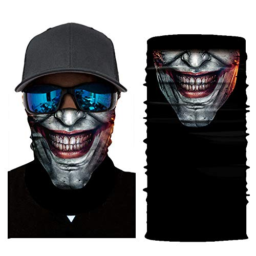 MMLC Fishing Face Shields Multifunktionstuch Totenkopf Maske Clown Halstuch Halloween Kostüme Motorrad Ski Jagen Fahrrad (A)