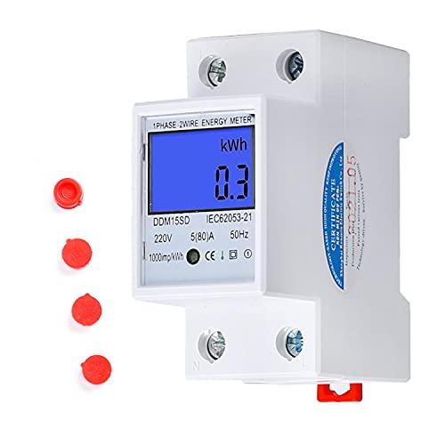 LCD Digitale Stromzähler 5(80) A 220V B Geeicht Wechselstromzähler Hutschiene KWh Zähler 1-phasiger 2-poliger 2P-DIN-Schienen-Stromzähler