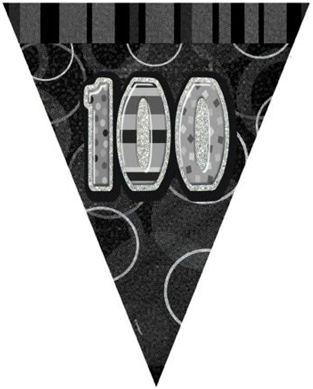 Werder Birthday Glitz schwarz '100' Prismatic Bunting - 3.66m B07P6158LG Reparieren     Hochwertige Materialien