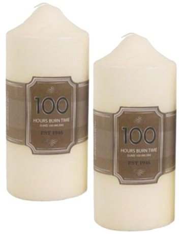 2 X 100 Hour Cream Church Pillar Candles - 16cm x 7cm Ivory Candle Set Of Two