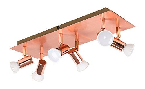 MiniSun – Rechteckige Deckenleuchte 6 flammig in Kupfer – 6-flammiger Deckenstrahler – Deckenleuchte 6 Strahler – Deckenleuchte 6 Spots, rechteckig, Kupferfarben (GU10, 50W) [Energieklasse A++]