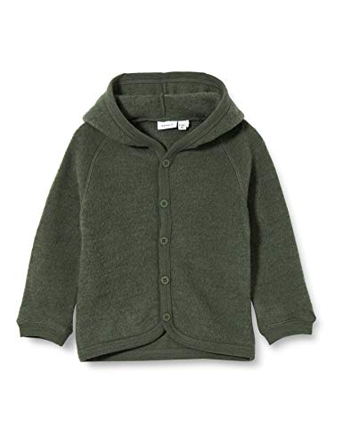 NAME IT NBFWMINO Wool Brushed LS Card XX Chaqueta, Verde Oscuro, 2 Mes para Bebés