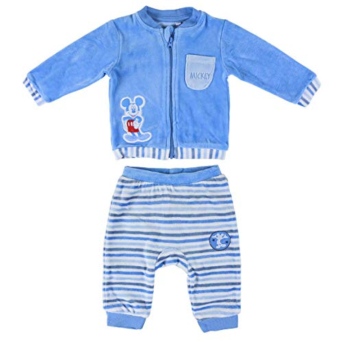 Artesania Cerda Conjunto 2 Piezas Velour Mickey Ropa, Azul (Azul C37), 12m para Bebés