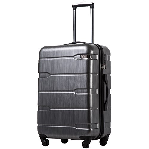 Coolife Luggage Expandable(only 28') Suitcase PC+ABS Spinner Built-In TSA lock 20in 24in 28in Carry on (Charcoal, M(24in).)