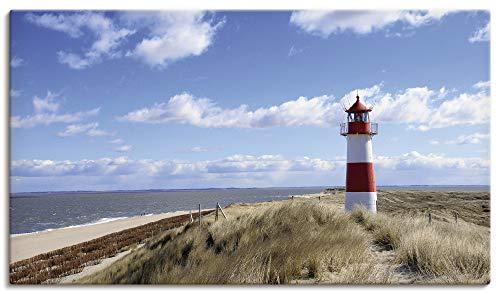 Artland Leinwandbilder auf Holz Wandbild 70x40 cm Querformat Natur Landschaft Strand Dünen Himmel Meer Leuchtturm Sylt Nordsee Panorama T9ML