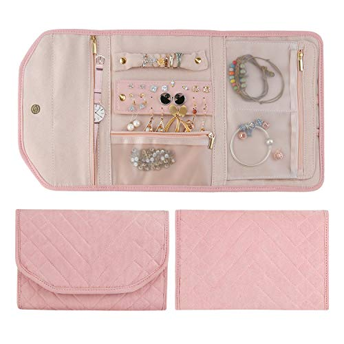 Whekeosh Travel Jewelry Organizer Bag Portable Jewelry Roll for Women Foldable Jewelry Case for Necklaces Rings Earrings Bracelets Compact Jewelry Storage Easy to Carry Soft Pink