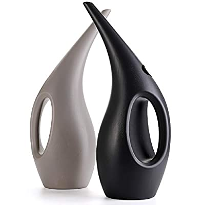 Fasmov 2 Pack 0.4 Gallon Plastic Watering Can, Elegant Watering Pot, Small Indoor Watering Cans for House Plants, Gray and Dark Gray
