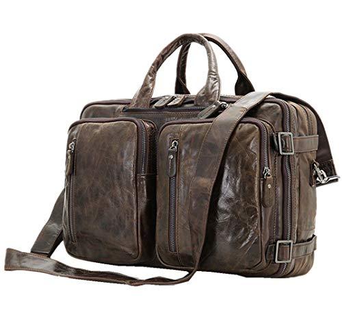 Berchirly Multifunction Genuine Leather Messenger Bag Rucksack Daypack Case