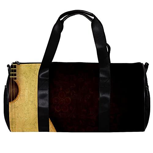 Borsone da palestra rotonda con tracolla staccabile per chitarra vintage con sfondo rosso scuro fiore sfondo borsa per la notte per donne e uomini