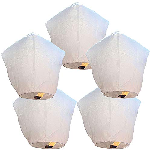 Just Artifacts 5 ECO Wire-Free Flying Chinese Sky Lanterns (Set of 5, Wire-Free Diamond, White) - 100% Biodegradable, Environmentally Friendly Lanterns!