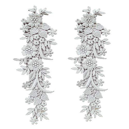 RG Enterprises - Aplique de encaje con diseño de flores de margarita blanca, hermoso parche para ropa, parche bordado para Frock
