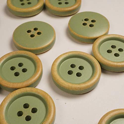 12 botones de madera verde menta, verde vintage, botones de madera natural, aspecto desgastado, 4 agujeros en negro, 2 cm de diámetro (verde)