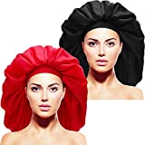 2 Pieces Extra Large Sleep Cap Jumbo Cap Large Satin Bonnet with Comfort Elastic Band (Red and Black)