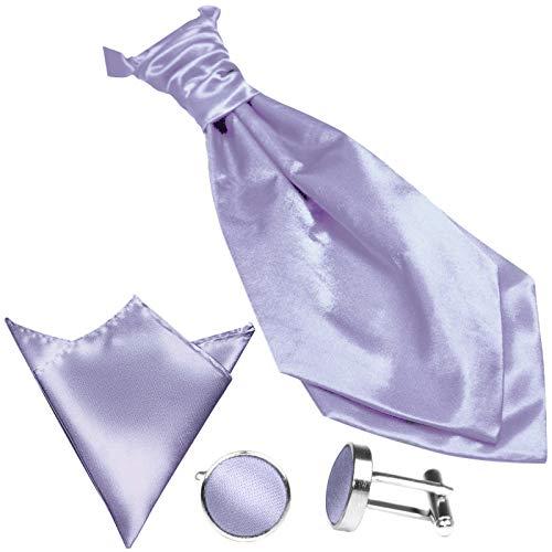 GASSANI (Set Di 3 Plastron Cravatta Larga, Cravatta Da Sposa, Viola, Fazzoletto Da Taschino Gemelli, Al Gilet Da Sposa Fracetto Da Sposa