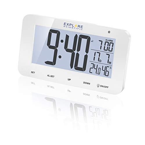 EXPLORE SCIENTIFIC Orologio radiocontrollato da tavolo con display RDC1004, Allarme & Snooze, bianco
